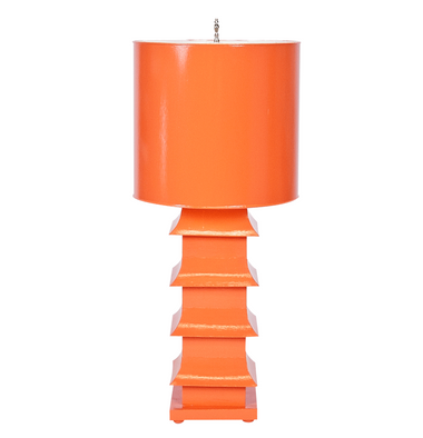 brightly colored orange pained table lamp from worlds away with a pagoda silhouette,high style