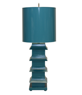 Tall pagoda shaped turquoise distinctive table lamp made of metal