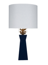 stunning navy blue lacquer designer accent table lamp with gold blossom top design from worlds away