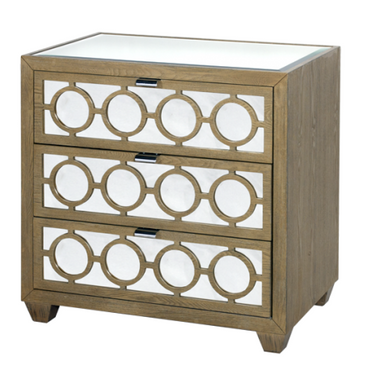 small scale modern limed oak dresser with nickel finish handles and mirrored fronts and tops