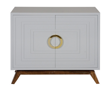 beautiful hardwood base grey lacquer small media cabinet with gold handles