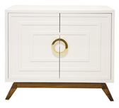 worlds away smallwhite lacquer media cabinet with gold handles and adjustable shelves and two doors
