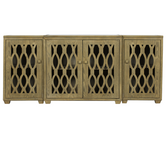 worlds away modern limed oak media cabinet,very large,mirrored top,glass doors