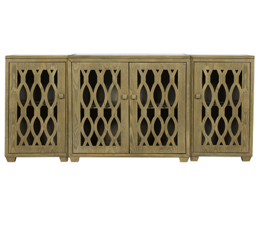 worlds away modern limed oak media cabinet,very large,mirrored top,glass doors