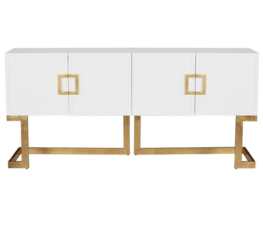 White lacquer media console with gold leaf base & square handles. COLOR: WHITE