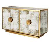stunning two door cabinet gold leaf antique mirrored
