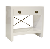 White lacquer nightstand with brass accents