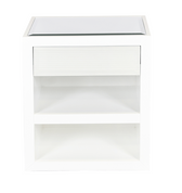 White lacquer cabinet with mirrored top and facing drawer