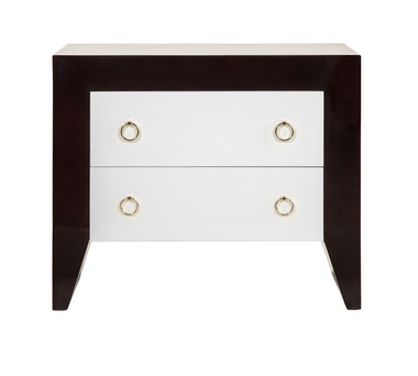2 DRAWER SIDE TABLE WITH WHITE DRAWERS & BRASS HARDWARE