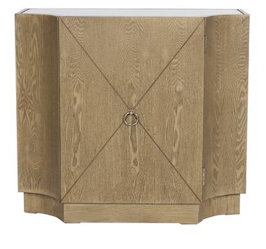 Limed oak veneer one door chest. Inset middle shelf. Inset beveled mirrored top.