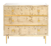 BURLWOOD 3 DRAWER CHEST WITH GOLD LEAF HARDWARE & BASE