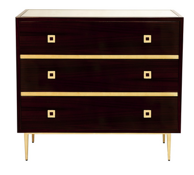 ROSEWOOD 3 DRAWER CHEST WITH GOLD LEAF HARDWARE & BASE