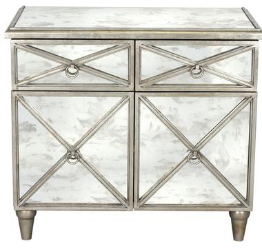 Champagne silver leaf antique mirror crosshatch chest