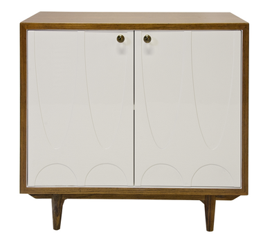 HARDWOOD VENEER COVERED CABINET WITH WHITE LACQUER DOORS