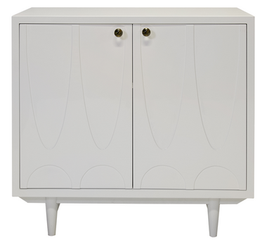 WHITE LACQUER 2 DOOR CABINET WITH GOLD DETAILED GLASS KNOB HARDWARE.