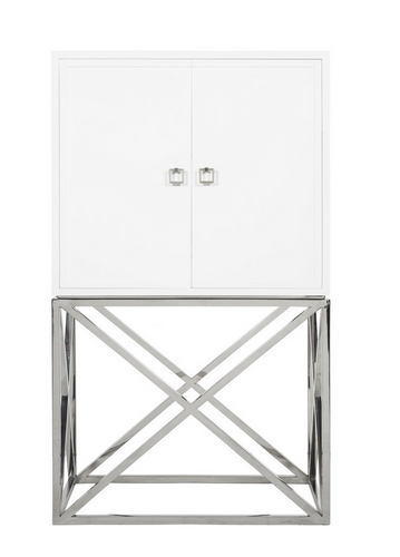WHITE LACQUER BAR CABINET WITH STAINLESS STEEL HARDWARE & BASE