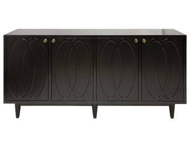 MATTE BLACK LACQUER 4 DOOR BUFFET WITH GOLD DETAILED GLASS KNOB HARDWARE.