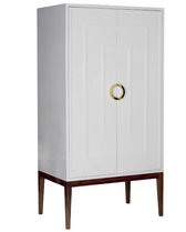 WHITE LACQUER 2 DOOR ARMOIRE WITH HARDWOOD BASE & BRASS HARDWARE