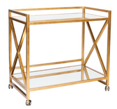 Worlds away chic 2 shelf gold leaf bar cart on wheels