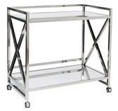 Worlds away Gerard stainless steel bar cart on wheels