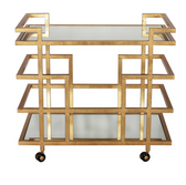 Worlds Away Ireland bar cart in gold with mirrored tops