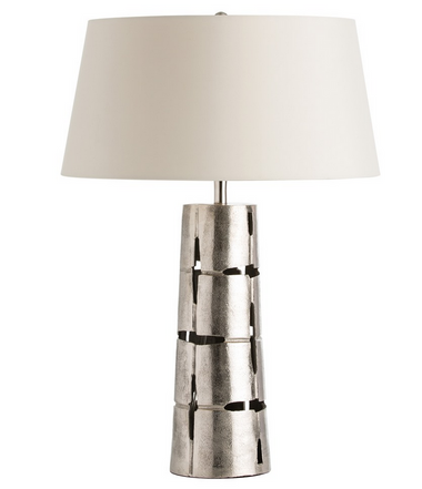 This cast aluminum column table lamp has a natural organic feel to it, which we contemporized by polishing the pitted surface and using a flattened euro taper shade made in sleek white microfiber and lined in white cotto