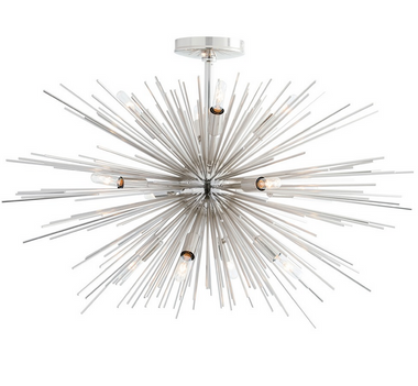 Especially designed for spaces with lower ceilings this new addition to our starburst Zanadoo collection has 12-lights