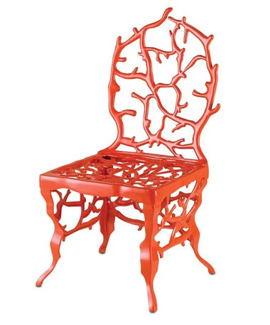 This brilliant red chair is an eye-catching Marjorie Skouras design.