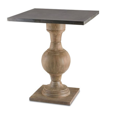 With both traditional and industrial elements, this simplistic occasional table has a turned wooden pedestal base with a square metal top.