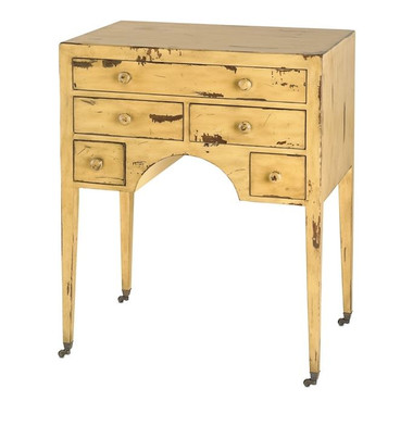 Yellow dressing table by Currey and Company