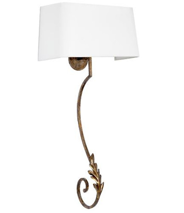 """Silver and gold patina traditional wall sconce with white shade, 18""""W x 39""""H."""