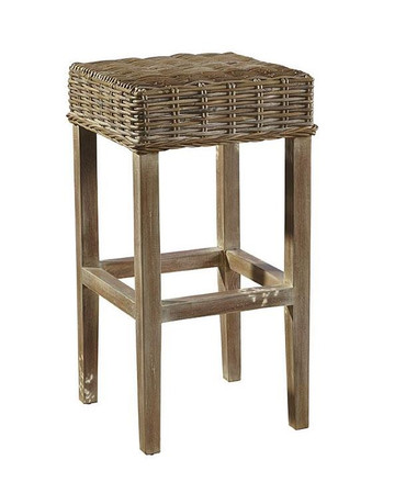 These stools will tuck nicely out of sight, but delight in being the center of attention Sturdy kubu is woven over a solid mahogany frame, and finished in a muted driftwood finish.