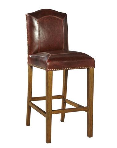 Generous sized, well padded leather stool on oak frame.