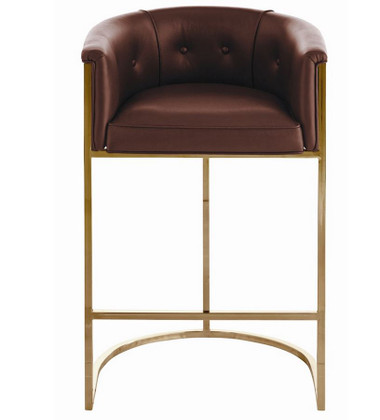 Antique brass plated square tube frame supports the top grain brown leather seat and back. Note the brown and white hide on the back of the seat. Bar height.