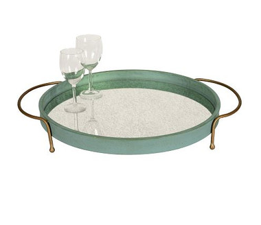 """TEAL & GOLD SUMNER TRAY WITH ANTIQUE MIRROR, 24.5""""W x 20""""D x 3""""H"""