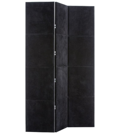 Upholstered on both sides so it can float in a room, this 3-panel screen is designed to divide or conceal. Black suede with tone-on-tone, top-stitch detail on both sides, front side padded.