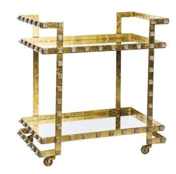 gold leaf and mirrored bar bar cart on wheels.