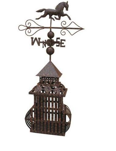 Decorative horse weather vane on bird cage base