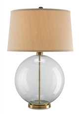 "Clear seed glass table lamp with coffee bronze metal accents and Beige linen shade. Height is 31"" Classic globe style reflects todays trends"