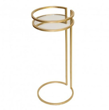 worlds away circular gold leaf drink / cigar table.