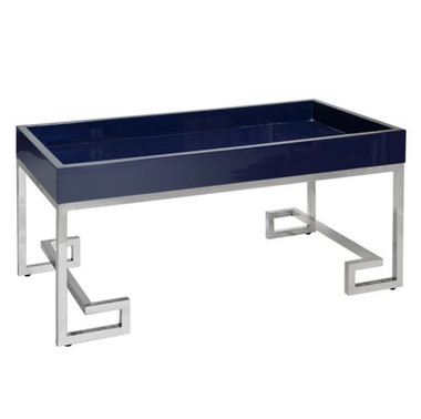 worlds away lacquered blue and silver coffee table