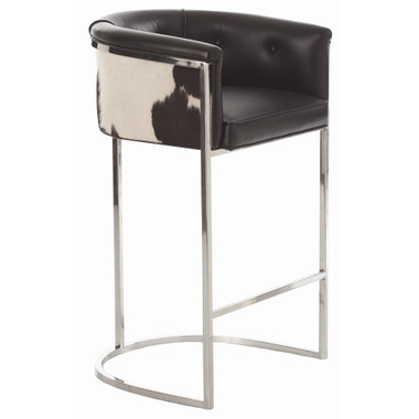 Transitional box style barstool with low curved back is supported by polished nickel finish on stainless steel frame. Seat upholstery features top grain seatand detailed with black and white hide back.