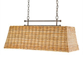 Currey and Company basket rectangular chandelier