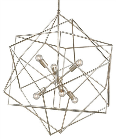 A modern geometric form and an innovative use of materials make the Aerial Chandelier an unforgettable showstopper. A series of angular cubes offer a whimsical element and give life to the wrought iron framework. A glittering Silver Granello finish features the added luster of a warm golden glow. Whether in formal or contemporary settings, this piece is sure to wow.