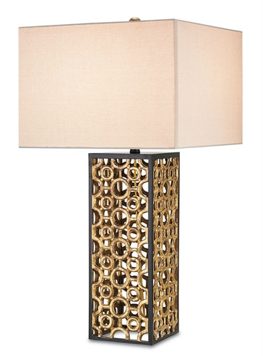 unique vintage style gold leaf table lamp with linen shade by currey and company