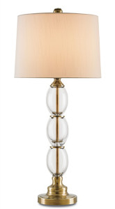 Clear glass and brass traditional/ vintage styled table lamp with cream shade by Currey & Company