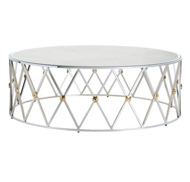 Arteriors chic nickel coffee table with antiqued mirror top