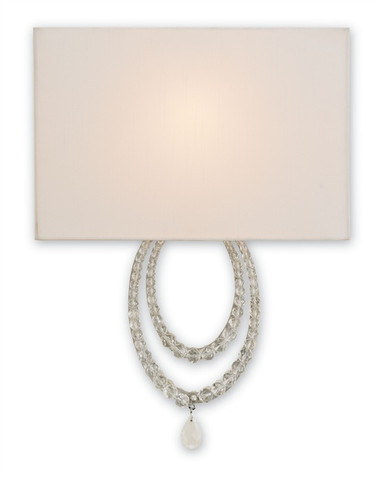 Chic iron and crystal wall sconce with off white shade by currey and company