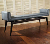 A grey faux bois city bench by Global Views