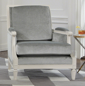 A grey lille chair from Global Views.